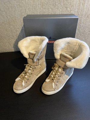 Original Prada Boots Halbstiefel 37 Wildleder /Lammfell