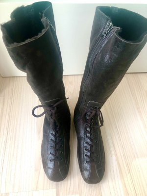 Prada Fur Boots dark brown