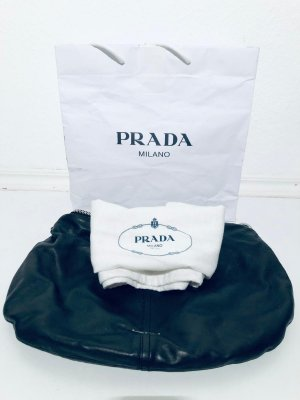 Original Prada Handtasche Hobo Bag aus schwarzem Leder