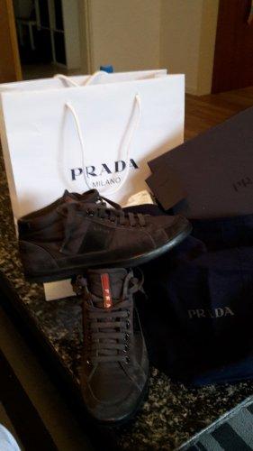 Prada High Top Sneaker grey brown leather