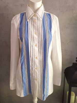 Prada Camicia a maniche lunghe bianco-blu acciaio Tessuto misto
