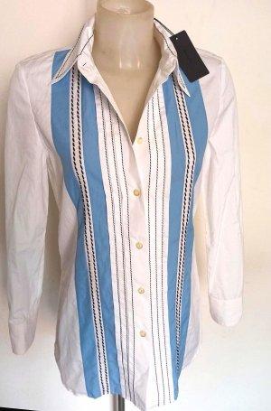Prada Chemise à manches longues blanc-bleu acier tissu mixte
