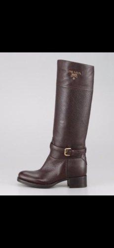 Original Prada Stiefel 40/41 Neu braun Leder Gold
