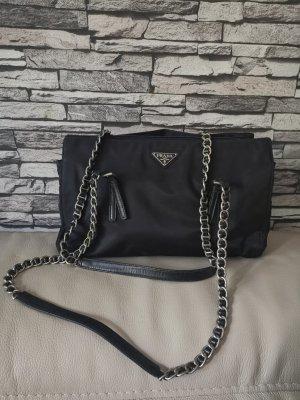 Original Prada Tasche Schultertasche schwarz Kettenhenkel
