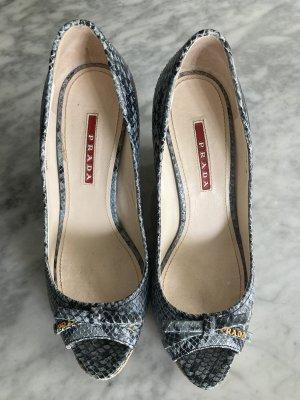 Prada Zapatos de cuña azul acero