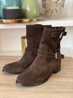 Prada Botas de tobillo marrón Gamuza