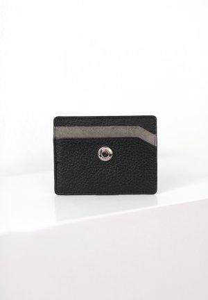 Original Reiss Cardholder Vintage Look echtes Leder schwarz grau Silber