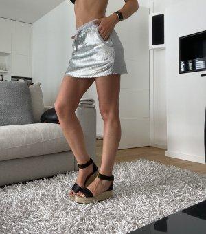 Replay Minifalda gris claro-color plata