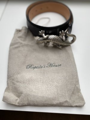 Reptile's House Cinturón de cuero negro-color plata