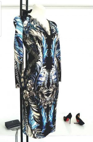 CLASS Roberto Cavalli Sukienka ze stretchu czarny-niebieski neonowy