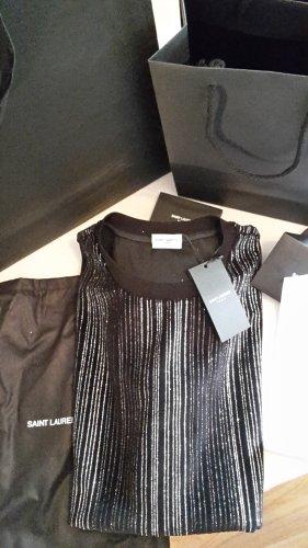 Saint Laurent Basic Shirt black-silver-colored wool