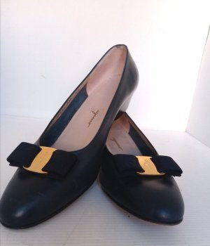 Original Salvatore Ferragamo Ballerinas Pumps Schuhe blau Gr 39,5