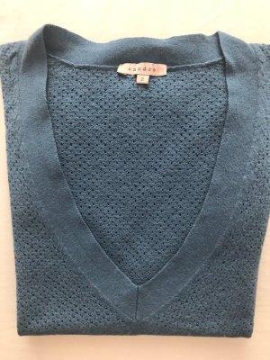Sandro Sweter z krótkim rękawem stalowy niebieski