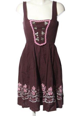 Original Steindl Dirndl braun-pink Blumenmuster klassischer Stil
