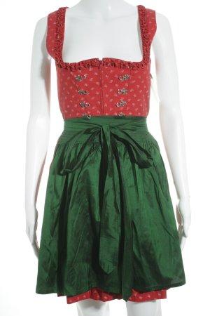 Original Steindl Dirndl rot-grün Schmucksteinverzierung