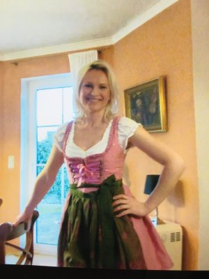 Original Steindl Petticoat Dress pink-white silk