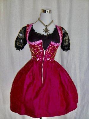 Original Steindl Seiden Dirndl pink mit passender Schürze GR 34 XS
