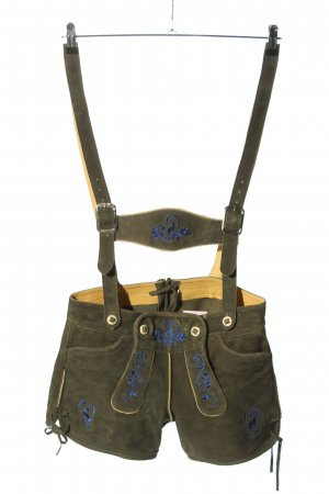 Original Steindl Traditionele leren broek khaki-blauw casual uitstraling