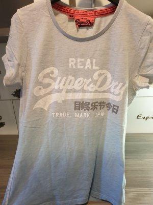 Original Superdry T-Shirt Damen Grau/Blau Größe 36