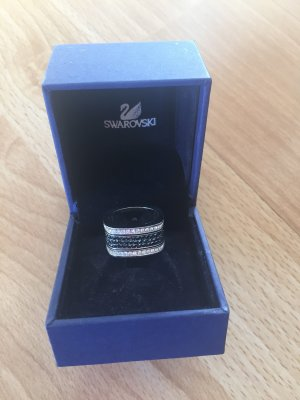 Swarovski Zilveren ring zwart-zilver