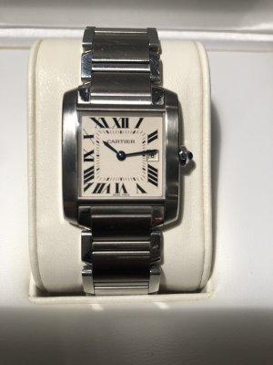 Cartier Zegarek z metalowym paskiem srebrny-biały