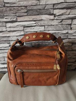 Original Tod's Handtasche Tasche braun Cognac mit goldenen Applikationen