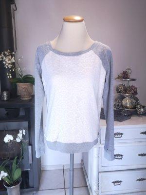 Original Tommy Hilfiger Sweater mit Spitze Gr S Pullover weiß grau Pulli Winterpullover Winter warm