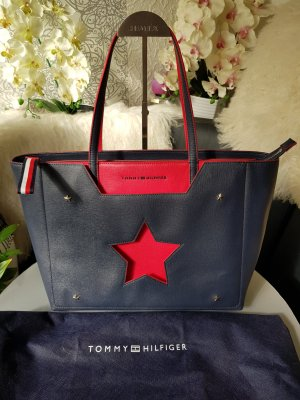 Original Tommy Hilfiger Tasche Shopper blau rot