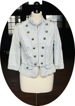 Blazer en jean bleu azur tissu mixte