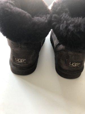 UGG Futrzane buty ciemnobrązowy Skóra