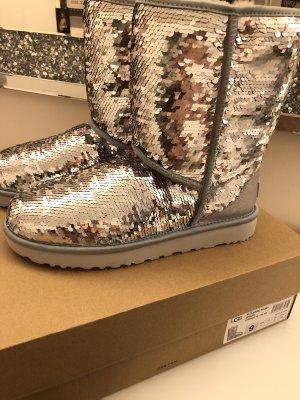 Original Ugg Boots Stiefel Pailletten Silber rosa 40 neu