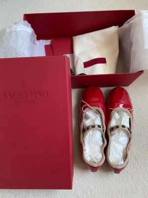 Valentino Patent Leather Ballerinas red