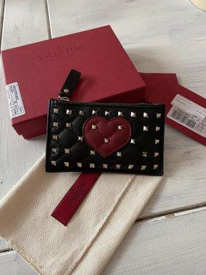 Valentino Garavani Tarjetero negro-rojo oscuro Cuero