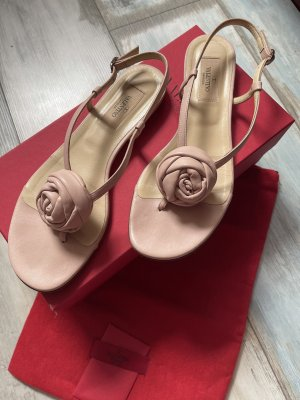 Original Valentino Garavani Leder Sandalen rosa mit einer Blume 550€