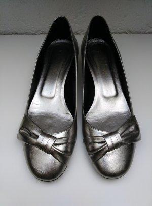Original Valentino Pumps Gr.40 Absatzschuhe Leder silber grau Schuhe Ballerina
