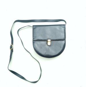 Original Vintage Echtleder schwarz blaue Tasche Klickverschluss Must have boho Urban