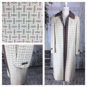 Original Vintage Ende der 1950er Jahre Creme/Elfenbein und braun Korb Weben 3/4 Länge Swing Mantel