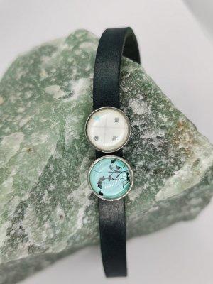 Boho Leather Bracelet silver-colored-dark blue