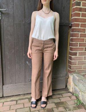 Vintage Lniane spodnie jasnobrązowy