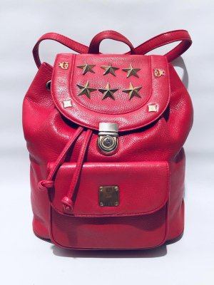MCM Daypack raspberry-red-gold-colored