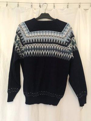Original Vintage Pullover Pulli Norwegen Style aus Italien blau