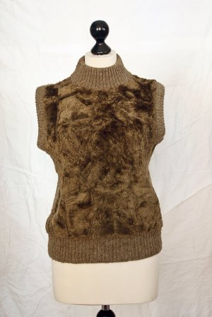 Vintage Fine Knitted Cardigan ocher cotton