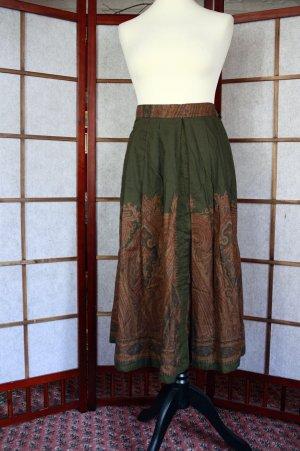 True Vintage Maxi rok donkergroen-bruin Katoen