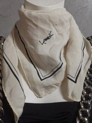 Original Yves Saint Laurent Seidentuch Tuch 100% Seide Schal Scarf Cremeweiß