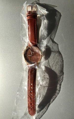 Fossil Montre avec bracelet en cuir brun rouge-cognac cuir
