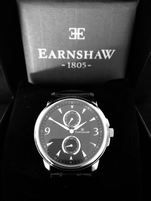 Thomas Earnshaw Watch With Leather Strap black leather