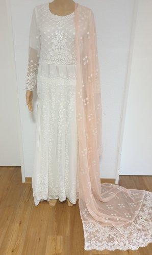 1 brand Peplum jurk wit-roségoud Chiffon