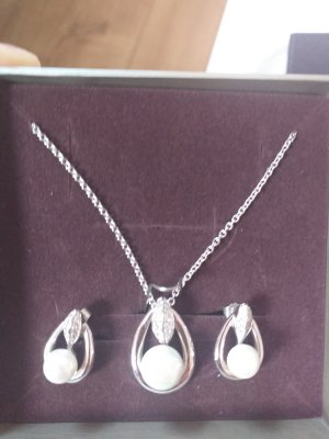 Oro Vivo Collana di perle bianco-argento