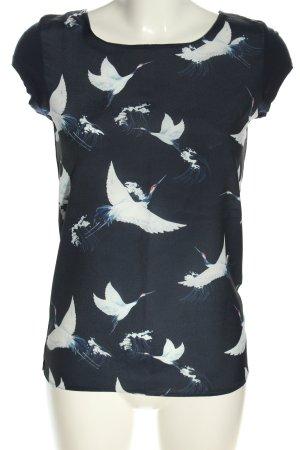 Orsay Empiècement de blouses bleu-blanc imprimé avec thème style d'affaires