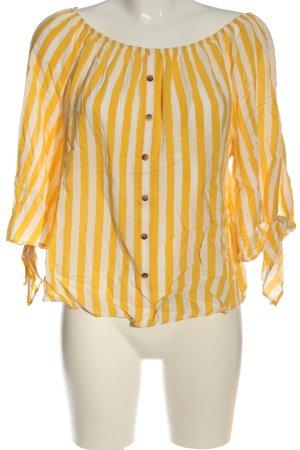 Orsay Blusa tipo Carmen amarillo pálido-blanco puro estampado a rayas